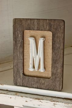 Rustic wood frame with burlap and letter initial, rustic housewarming gift, rustic wedding frame, shabby chic nursery, shabby chic decor by HeidieWithAnE on Etsy