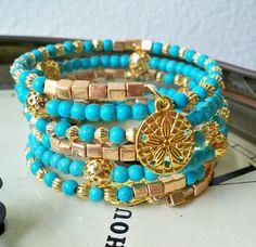 This item is unavailable - Wrap Bracelet – Turquoise and Gold beads – Gold . - This item is unavailable – Wrap Bracelet – Turquoise and Gold beads – Gold sanddollar charms - Gemstone Jewelry, Beaded Jewelry, Handmade Jewelry, Beaded Bracelets, Gold Jewelry, Trendy Fashion Jewelry, Fashion Jewelry Necklaces, Seed Bead Bracelets Tutorials, Memory Wire Jewelry