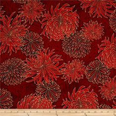 Kaufman Imperial Collection Metallic Flower Spray Crimson from @fabricdotcom  Designed by Studio RK for Robert Kaufman, this cotton print is…