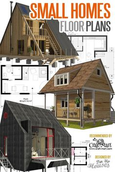 Tiny House Plans and Cabins (Prefabs, Kits, DIY plans Everything from pre-built cabins and sheds to prefab tiny homes or detailed tiny house plans. A Frame Cabin, A Frame House, Home Design, Pre Built Cabins, Small House Floor Plans, Cabin In The Woods, Diy Hanging Shelves, Door Makeover, Diy Home Decor Projects