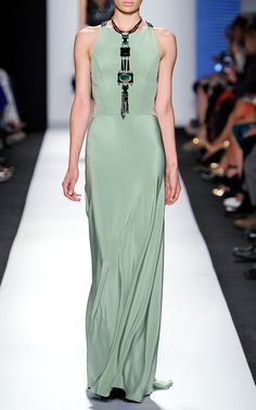 Gown With Mesh Straps At Back And Embroidered Bodice by Carolina Herrera for Preorder on Moda Operandi