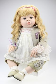 e21a94f8183 Online Shop New Arrival 70 cm 28 Inches Yellow Wavy Hair Real Touch Silicone  Reborn Baby Dolls Lifelike Big Size Baby Clothing Model Girls