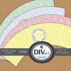PRINTABLE Party Decorations  PD007  cupcake wraps by DIVart, $3.00