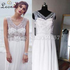 Cheap Anna Campbell Vintage v cuello con cuentas de cristal de vestidos de boda…
