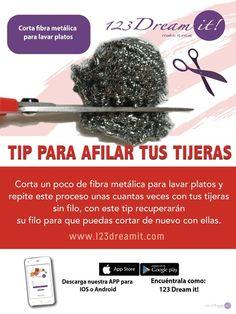 Afila tus tijeras con tan solo una esponja metálica para lavar platos. Así podrás renovar su filo fácilmente.