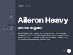 Aileron is an easy-to-read, functional typeface that when applied using different weights will create a consistent and clean aesthetic. This combination is great to use for any formal marketing or documents with dense copy.