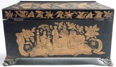 A  Regency three compartment Penwork Tea caddy decorated all over with exotic penwork scenes on a sycamore ground . Circa 1820. tcpendisfam04.jpg (95842 bytes)