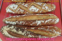Grosses baguettes de pain à l'épeautre et au levain
