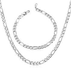 59eccdf7014 Stainless Steel Men Figaro Chain Necklace Bracelet Fashion Bracelets