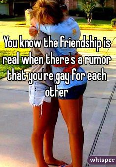"""Someone posted a whisper, which reads """"You know the friendship is real when there's a rumor that you're gay for each other """" Post Quotes, Sad Quotes, Inspirational Quotes, Forgotten Quotes, Sad Texts, Whisper App, Sweet Quotes, Secret Love, Real Friends"""