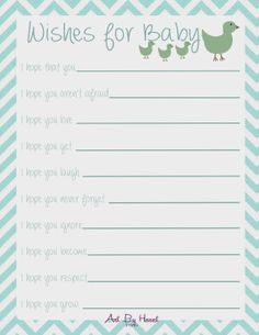 Wishes for Baby Printable - Blue Chevron Digital File INSTANT DOWNLOAD