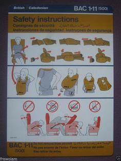 British Caledonian BAC 1-11 Safety Card
