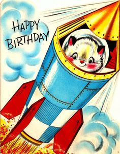 Vintage Birthday Card Space Cat Astronaut Rocketship