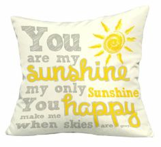 Amazon.com - You Are My Sunshine Pillow 17x17 (Faux Linen Ivory Yellow Grey)