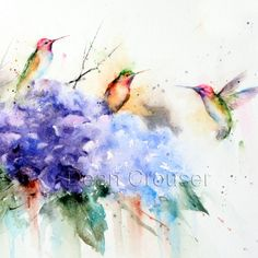HUMMINGBIRDS and FLOWERS Watercolor Print by by DeanCrouserArt, $25.00