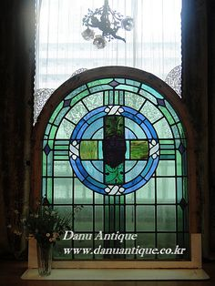 antique window stained glass blue~blue♣