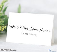 """Typographic Personalized Printable Place Cards; Tent Cards; Wedding Escort Cards, 3.5""""x2"""" Folded Card, Two Editable PDFs, Instant Download Birthday Places, Printable Place Cards, The Fold Line, Bone Folder, Tent Cards, Couple Shower, Cursive, Pattern Paper, As You Like"""