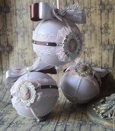 """Купить Набор новогодних шаров """"Камея"""" - розовый, шары на елку, шары новогодние, елочные украшения"""