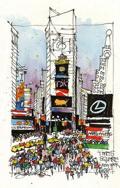 Times Square NYC | Drawn on location from the bleachers on t… | Flickr
