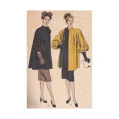 Vintage 1940s Coat Pattern Vogue 5709 Size 16 Bust 34 Flared