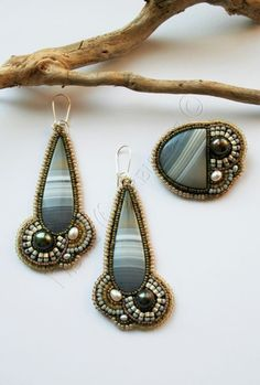 teardrop cabachon earrings and pin