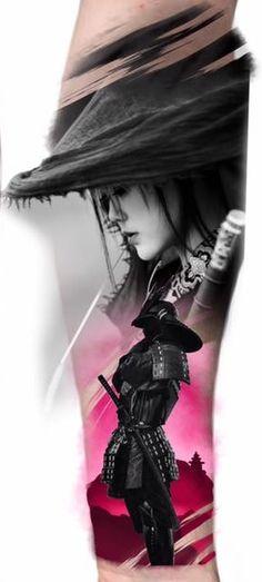 54 Stunningly Samurai Tattoos And Ideas That Are Worth The Pain Geisha Samurai, Female Samurai, Bild Tattoos, Body Art Tattoos, Sleeve Tattoos, Samurai Tattoo Sleeve, Geisha Tattoos, Geisha Tattoo Design, Yakuza Tattoo