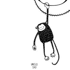Cute #monkey children illustration in black and white / monochromatic drawing for kids by Proud Dad