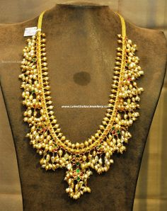 Traditional gutta pusalu chain by shiny fresh water pearls with light yellowinsh shade.strung with 22 cart gold by Hiya jewellers. Silver Jewellery Indian, Indian Jewellery Design, Latest Jewellery, Rose Gold Jewelry, Bridal Jewelry, Jewelry Design, Diamond Jewellery, Jewellery Bracelets, Designer Jewellery