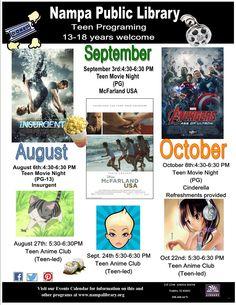 Teen programs August - October 2015