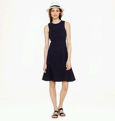 New-J-Crew-Collection-Paneled-Eyelet-Dress-Size-2-Black-a4897