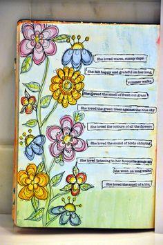 Bloggabella » Blog Archive » it's ART JOURNALING MONDAY SISTAHS! Nice example of using watercolor pencils (I assume).