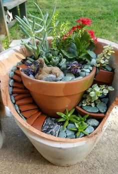 My first Fairy Garden! Not quite finished but couldn't wait to share. Broken Pot Garden, Garden Pots, Mini Fairy Garden, Fairy Garden Houses, Small Succulents, Planting Succulents, Malaysia Garden, Flower Tower, Sloped Garden