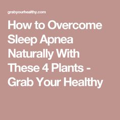 How to Overcome Sleep Apnea Naturally With These 4 Plants - Grab Your Healthy
