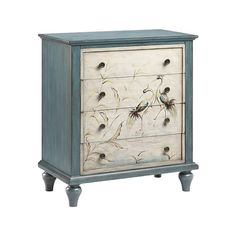 Four-drawer accent chest . Hand-painted blue bayou with cream drawer fronts. Blue hand-painted heron scene on drawer fronts. Stein World Summer 2016 Made in China Finish: Hand-Painted,Blue,Cream Dimensions: Length 28 Width 15 Weight Quality Furniture, Cheap Furniture, Rustic Furniture, Painted Furniture, Bedroom Furniture, Furniture Ideas, Furniture Stores, Kitchen Furniture, Outdoor Furniture