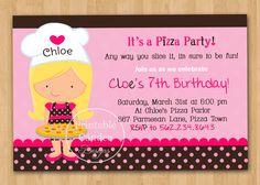 Pink and Brown Pizza Party Birthday Invitation - Custom Printable. $10.00, via Etsy.