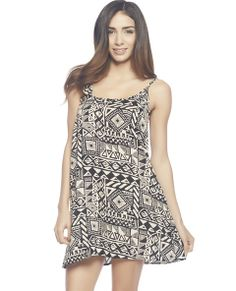 """Stay fresh and comfy in this slip dress with a tonal tribal printed woven body, scoop neck, spaghetti straps, and relaxed fit.  Model is 5'9"""" and wears a size small   100% Rayon Hand Wash USA"""