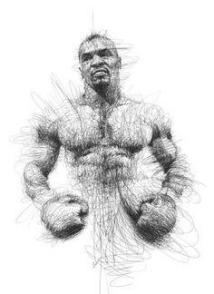 Artist Vince Low has turned once-aimless doodling into Scribble Art, which is an advanced art form of penmanship. Described as Scribbles with life, Vince Low's works are invariably in portrait form. Pencil Art, Pencil Drawings, Art Drawings, Afrika Tattoos, Vince Low, Sports Drawings, Scribble Art, Creation Art, Mike Tyson