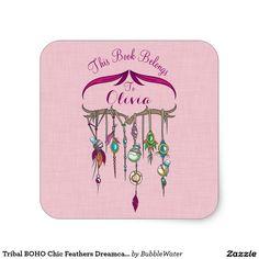 Tribal BOHO Chic Feathers Dreamcatcher Bookplate Square Sticker