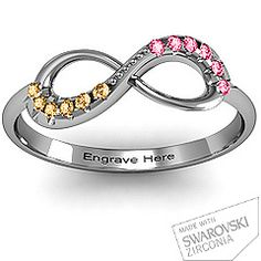 infinity ring with his/hers birthstones