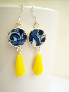 Blue Patterns Pottery Shard Earrings Blue & White love it! #ecrafty