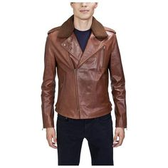Tobacco Leather Biker Jacket by United Face. Buy for $299 from buy.com