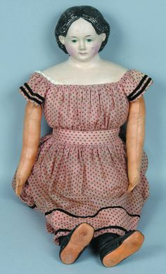 78: Terrific Pre-Greiner Composition Doll, painted eyes : Lot 78