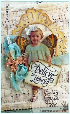 Tammy Tutterow Tutorial | Vintage Girlie Gift Upcycled Gift Box | Image Coloring with Distress Inks