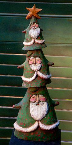 The Santa Tree whimsical folk art wood sculpture by SEFolk on Etsy, $150.00