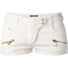 BALMAIN quilted shorts (53.295 RUB) found on Polyvore featuring shorts, bottoms, pants, short, balmain, balmain shorts, short shorts, white shorts and white short shorts