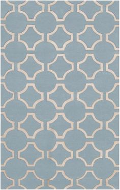 Surya Zuna Hand Tufted Wool Rug in Light Blue and Cream