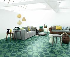 Contemporary Cement Tiles:  On/Off Teal, Switch Teal, Half Teal and Wire Teal, designed by Paola Navone
