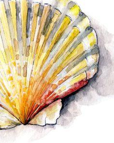 "Seashell Painting 2 - Print from Original Watercolor Painting, ""Sea Scallop""… Beach Watercolor, Watercolor Print, Watercolor Paintings, Simple Watercolor, Matte Painting, Painting Abstract, Seashell Painting, Seashell Art, Papier Paint"
