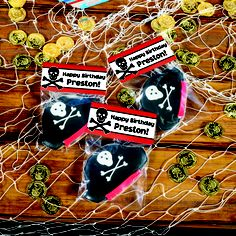 We'll custom print the name, you fill this #PirateParty DIY Booty (favor) Bag Kit with the birthday boy's favorite snacks or our pirate cookies!