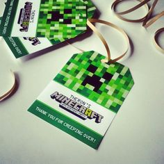 Minecraft Birthday Tags!  I designed and printed for my little guys birthday! I make all kinds of custom invitations plus more! Looking for a custom invitation design for your birthday party theme? Contact me at info@fox-t.com. Thanks!